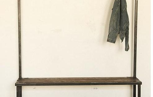 entry bench and coat rack. I'd like to try this with piping