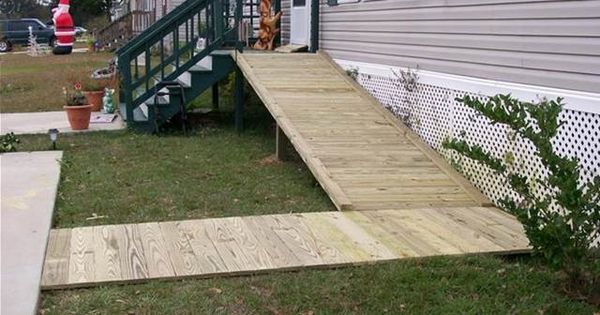 Wheelchair ramps from mobile home bing images home for Handicap accessible modular homes