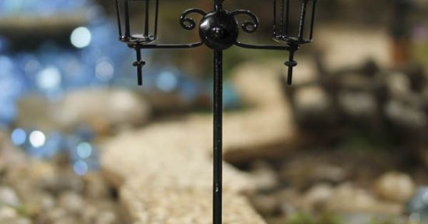 Miniature Black Street Light Post