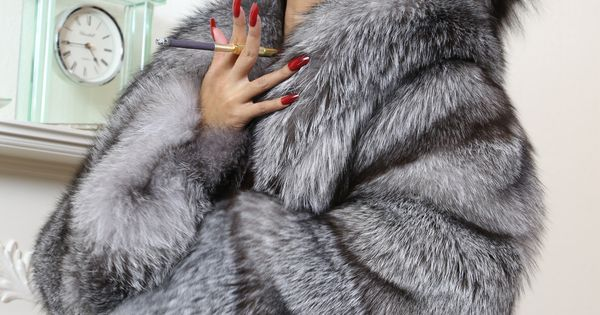 Swathed in Silver Fox Fur's, Long Red Nail's. www ...