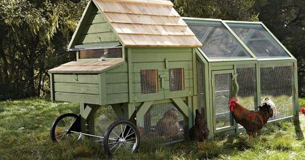 Light Green Country Chicken Coop on Wheels! This would be great to
