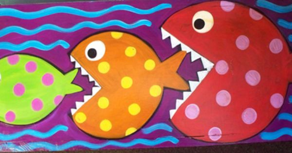 It 39 s a fish eat fish world out there garden bench painted for Dreaming of eating fish