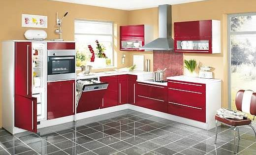Kitchen designs red style of the l shaped kitchen for L shaped indian kitchen designs