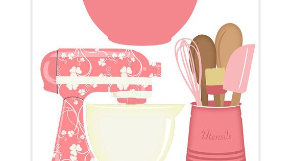 Kitchen Baking Clipart Set Pink Mixer Utensils And By