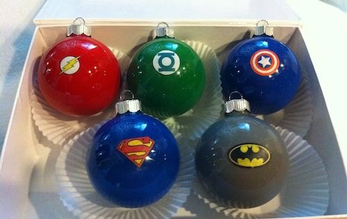 DIY superhero ornaments - Love this idea for mini trees for the