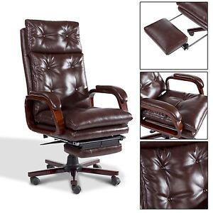 Homcom Luxury Office Chair High Back Swivel Recliner Footrest Deluxe Boss Chair Luxury Office Chairs Office Chair Chair