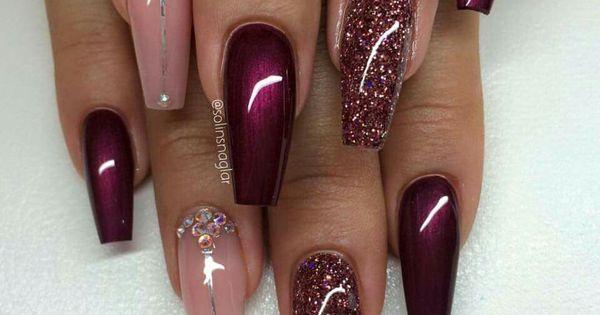 Burgundy & pink   Nail Art   Pinterest   Beautiful, Red ...