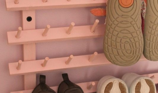 Wooden Baby Shoe Rack Amanda Hervey of A Lovely Place to Land