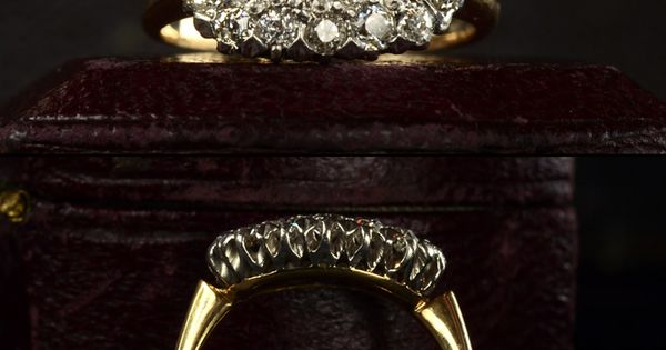 1900s Oval Edwardian European Cut Diamond Cluster Ring