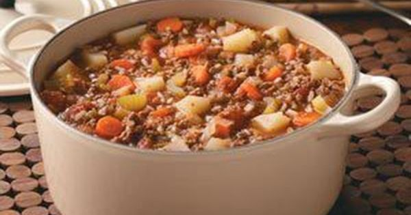 Hamburger Stew Recipe from Taste of Home -- will add beer or