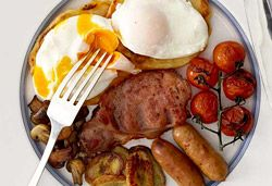 Full House English Breakfast With Corn Fritter And Fried Banana Recipe Hartford House English Breakfast Foods Banana Recipes Corn Fritters