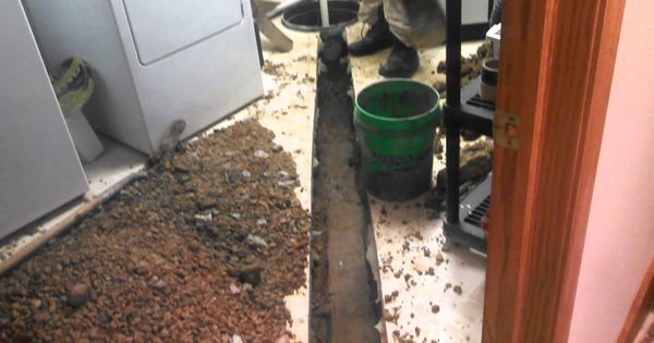 Interior drain tile day 1 process 1 remove approx 12 of for How to deep clean concrete floors