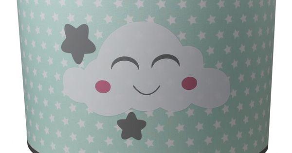 Kinderlamp voor de babykamer en kinderkamer in mint paste groen met lieve witte wolkjes en - Deco kamer bebe blauw ...