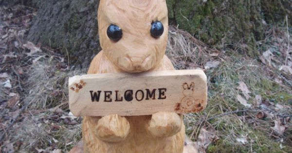Chainsaw carved bunny by carvnstitch on etsy