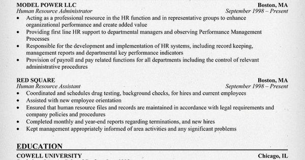 Human Resource Administration Resume Resumecompanion Com