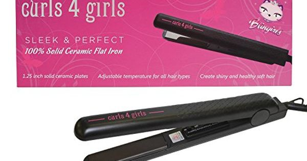 Hair Straightener Blingirls Curls 4 Girls Sleek Perfect 100 Solid Ceramic Flat Iron Click Image Ceramic Flat Iron Hair Straighteners Flat Irons Flat Iron