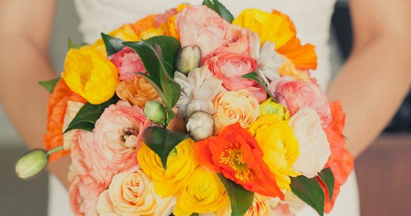 Orange and Yellow Bouquet with Teal Ribbon Teal coral and yellow wedding