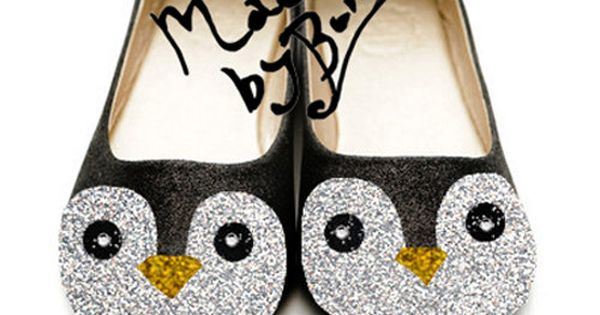 Adorable Penguin shoes made with Glitter & Rhinestones / Gunter from Adventure