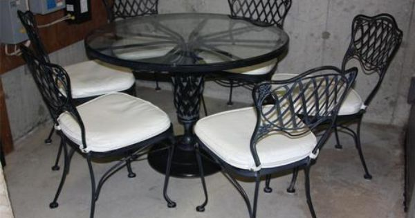 Vintage Black Cast Iron Woodard Glass Top Patio Table W 6