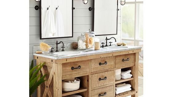 Vanity And Mirrors Benchwright Double Sink Console Wax