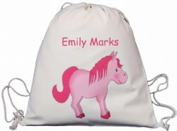 PINK PONY COTTON DRAWSTRING RUCKSACK PERSONALISED BACKPACK BAG  horse