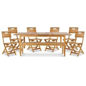 Denia Wooden 8 Seater Dining Set With 1 Bench 6 Standard Chairs