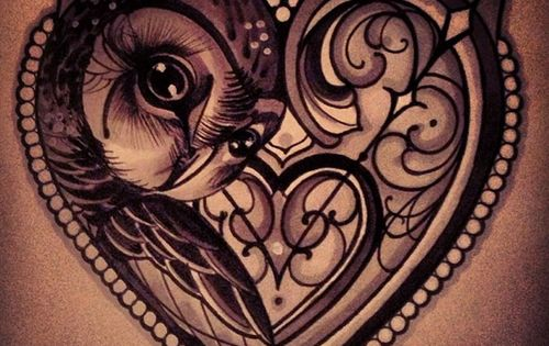 Owl, owl tattoo, heart tattoo, cool tattoos, ink