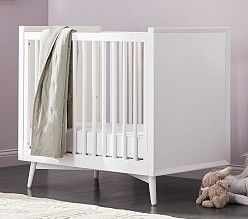 West Elm X Pbk Mid Century Mini Crib With Mattress White Mini Crib Baby Furniture Cribs