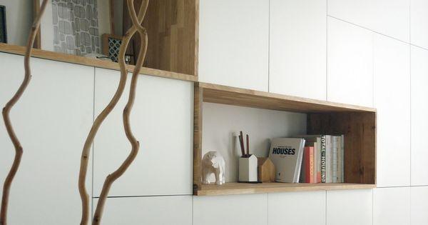 mur rangements blanc bois scandinave besta pinterest salons interiors and ikea hack. Black Bedroom Furniture Sets. Home Design Ideas