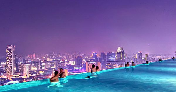 Rooftop Pool, Marina Bay Sands Resort, Singapore - amazing view looking towards