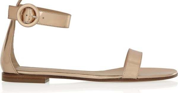 Gianvito RossiA�|A�Metallic leather sandalsA�|A�NET-A-PORTER.COM | See more about Leather Sandals, Metallic Leather and Sandals.