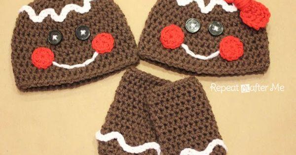 Free Crochet Pattern For Gingerbread Man Hat : Free Gingerbread Man (and Woman) Crochet Hat Pattern ...