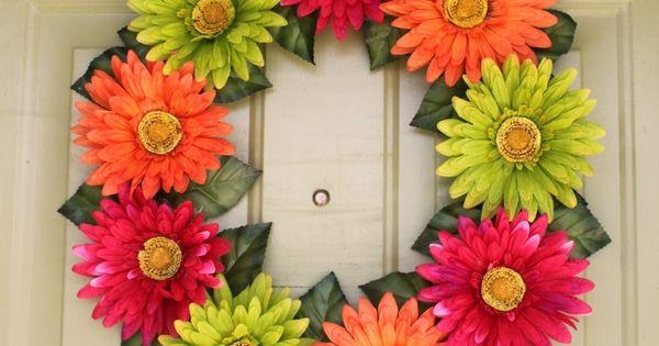 Gerber daisy wreath. Decor or craft idea
