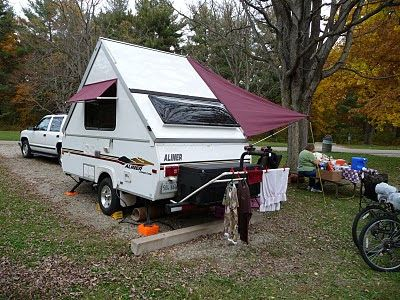 Quick Setup Rear Awning For Shaded Seating And Outside Kitchen Modified Coleman Awning From Fabric Sided Pop Up A Frame Camper Aliner Campers Camper Windows