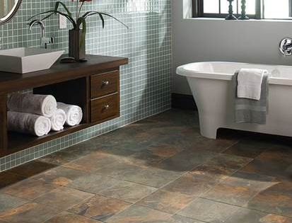 tiles floor bathroom this american olean bathroom features kendal slate tile in 14739