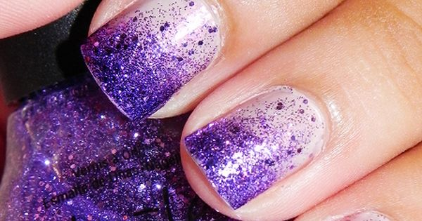 Glitter Tip Fade To Base Manicure Nail Art