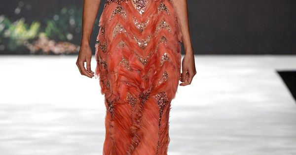 Orange and glitter evening gown - Badgley Mischka Spring 2013 RTW. Totally