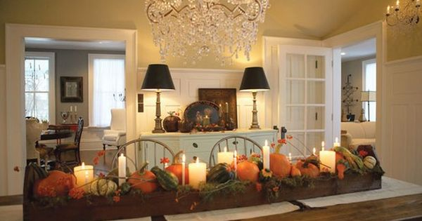 Thanksgiving table. fall autumn thanksgiving table decor centerpiece pretty vintage pumpkins candles