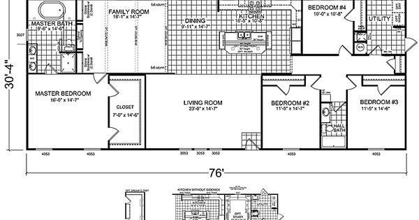 Double Wide Floor Plans Nc: 4 Bedrooms 3 Bathrooms, Mobile Home