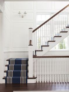 Navy And White Beach House Long Interior Stair Rug Staircase Runner Striped Stair Stair Runners St Staircase Design Stairway Design Hamptons Beach House