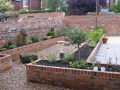 Long Raised Beds Built Of Brick Brick Garden