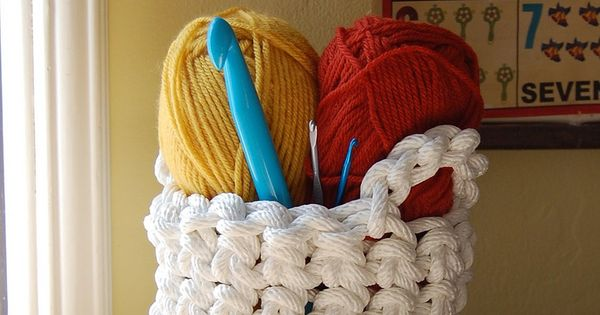 Crocheted rope basket: could this be made with thick t-shirt yarn