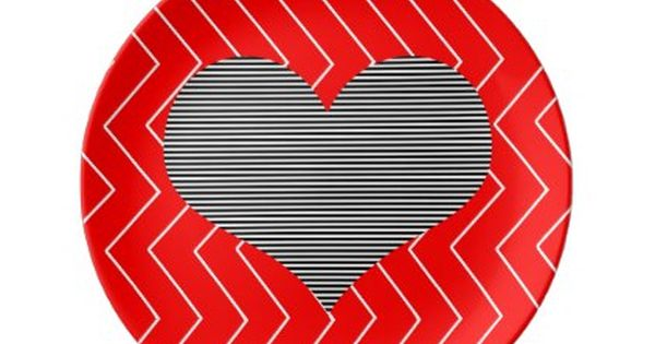 Abstract Geometric Pattern Heart Zigzag Red Plate Zazzle