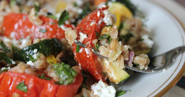 Farro salad, Roasted vegetables and Goat cheese on Pinterest