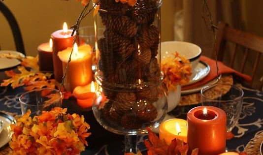 Pine cones, fall table decor