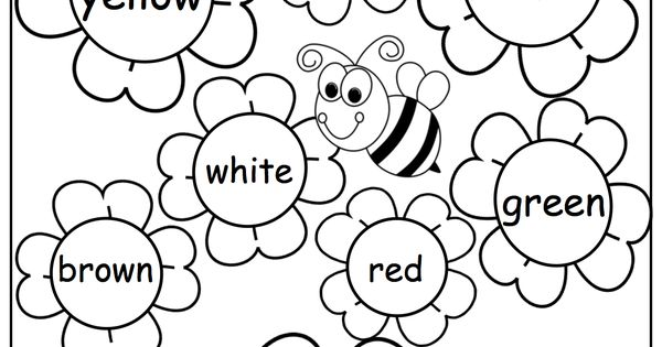 Free flower color words worksheet. Great for the spring