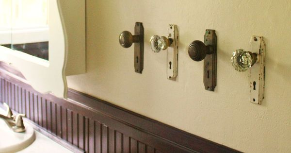 old door knobs for towel holders for the spare bathroom