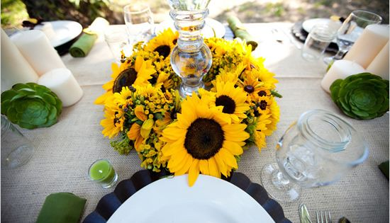 mason jar. Sunflower Wedding Inspiration sunflower wedding inspiration02 – Polka Dot Bride