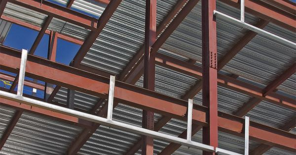 Corrugated Metal Bridge Decking : Steel construction bolted structural frame of