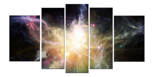 Startonight Glass Wall Art Acrylic Decor Galaxy 5 Stars Gift And A Contemporary Clock Set Of 5 Total 3543 X 70 Glass Wall Art Acrylic Decor Contemporary Clocks